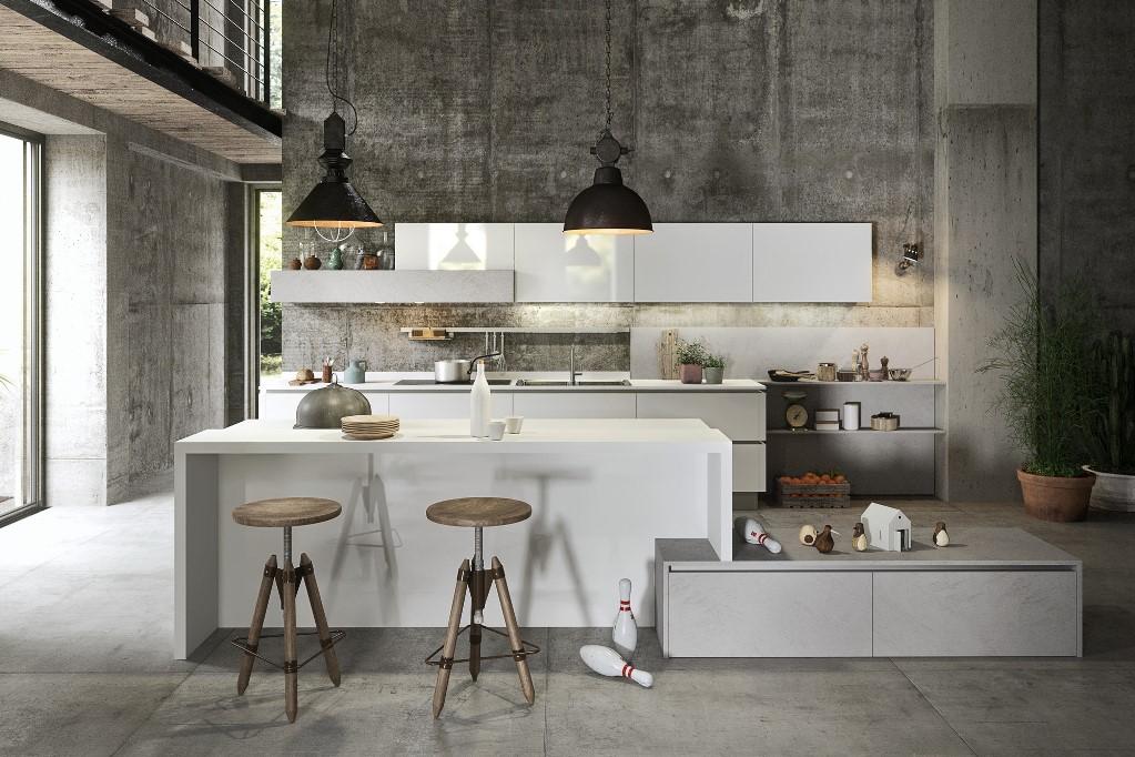 Cucina modello Urban con pensili laccati lucidi