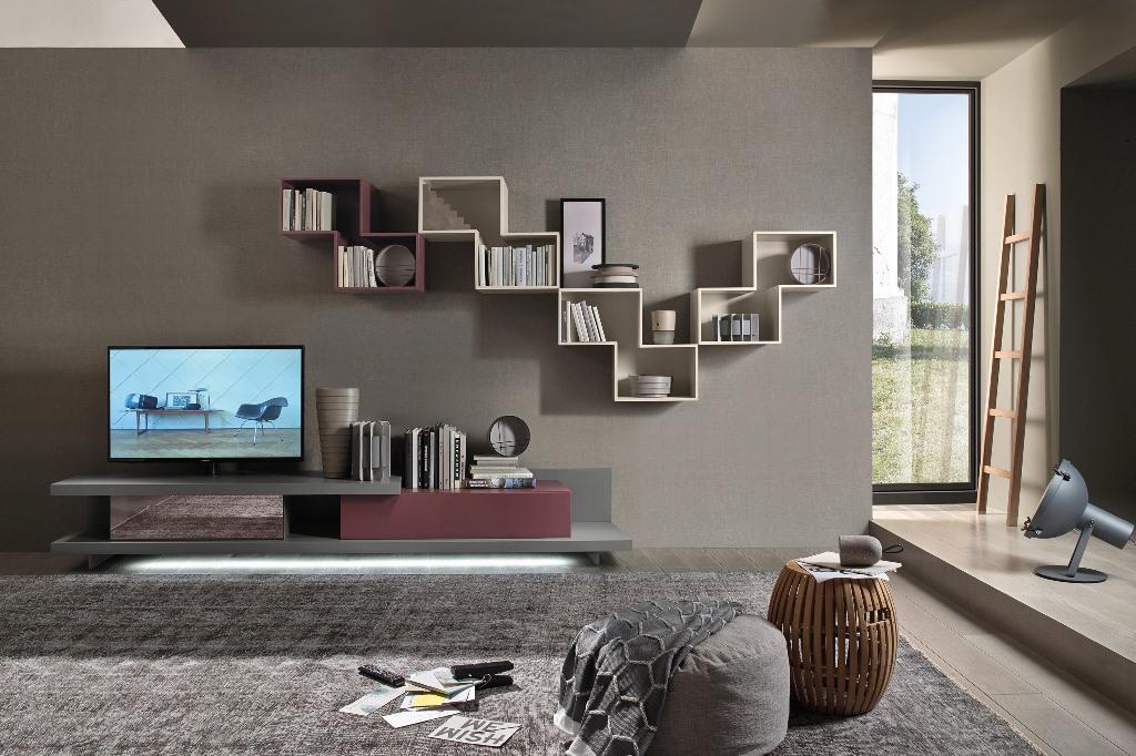 Modello Lampo con panchetta e illuminazione a Led. Elementi pensili Tetris