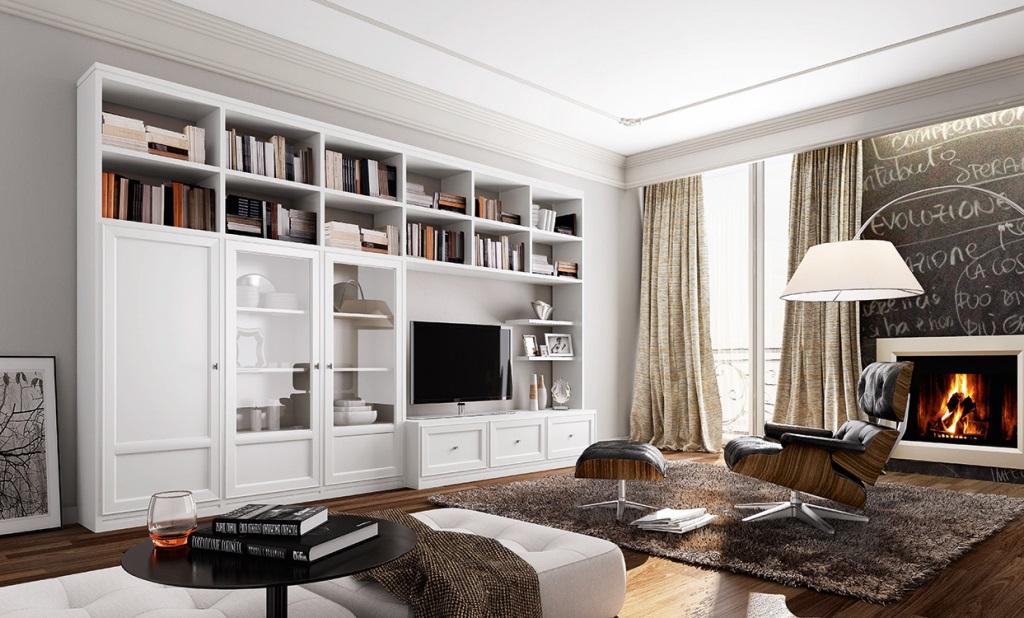 Composizione libreria laccata bianco quarzo